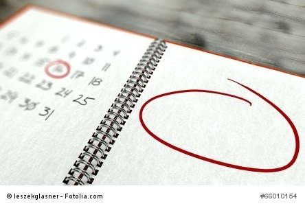 Red circle marked important day calendar concept